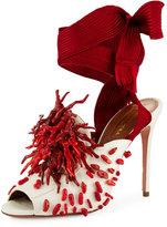 Aquazzura Madagascar Embellished Ankle-Wrap Pump, Red/White