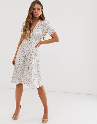 Ghost Sabrina floral print satin midi dress