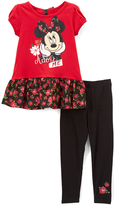 Children's Apparel Network Minnie Mouse Red Tee & Black Leggings - Infant, Toddler & Girls