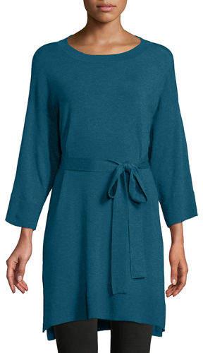 3-4-Sleeve Cozy Stretch Tencel Tunic w- Belt
