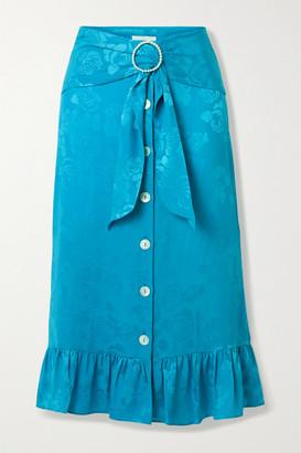 ART DEALER Belted Ruffled Floral Satin-jacquard Midi Skirt - Turquoise
