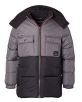 Perry Ellis Boys' Puffer Coats CHARCOAL - Charcoal & Black Color-Block Quilted Hooded Puffer Coat - Boys