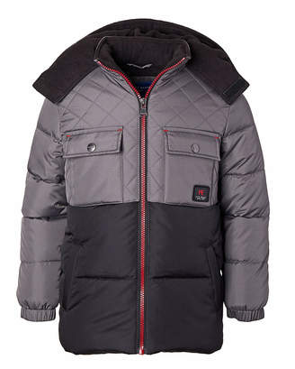 Perry Ellis Boys' Puffer Coats CHARCOAL - Charcoal & Black Color-Block Quilted Hooded Puffer Coat - Toddler & Boys