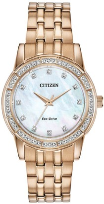 Citizen Eco-Drive Mother of Pearl Crystal Set Dial Gold Stainless Steel Bracelet Ladies Watch