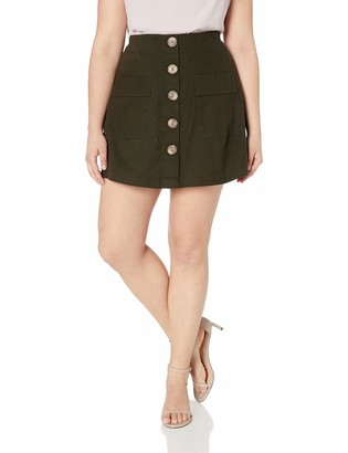 City Chic Women's Apparel Women's Plus Size Above The Knee Skort with Button Detail