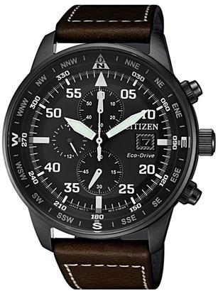Citizen Men's Eco-Drive Chronograph Leather Strap Watch, 44mm