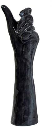Belgin Bozsahin Large Porcelain Hand Vase- Grey Black Gloss Finish