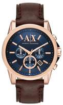 Armani Exchange Rose Gold And Dark Brown Leather Chronograph Bracelet Watch Ax2508