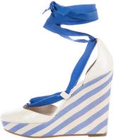 Celine Lace-Up Patent Leather Wedges