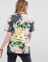Asos T-Shirt in Distressed Tie Dye Tour Print with Lace Trim