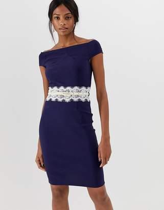 Paper Dolls contrast lace waist band pencil dress-Navy