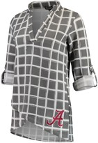 Unbranded Women's Gray Alabama Crimson Tide In It To Win It Window Pane V-Neck 3/4-Sleeve Blouse