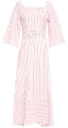 Gül Hürgel Liatris Belted Striped Cotton And Linen-blend Maxi Dress