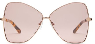 Karen Walker Queen Butterfly-frame Metal Sunglasses - Womens - Brown Multi