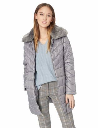 Kenneth Cole New York Kenneth Cole Women's Thigh Length Zip Puffer with Faux Fur Collar
