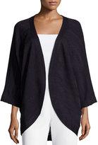 Misook Ginny Textured 3/4-Sleeve Cardigan, Navy