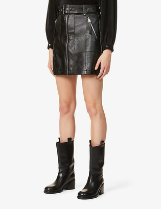 Topshop Mid-rise faux-leather mini skirt