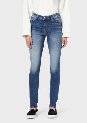 Emporio Armani J18 Super-Skinny Jeans In Stone-Washed Denim