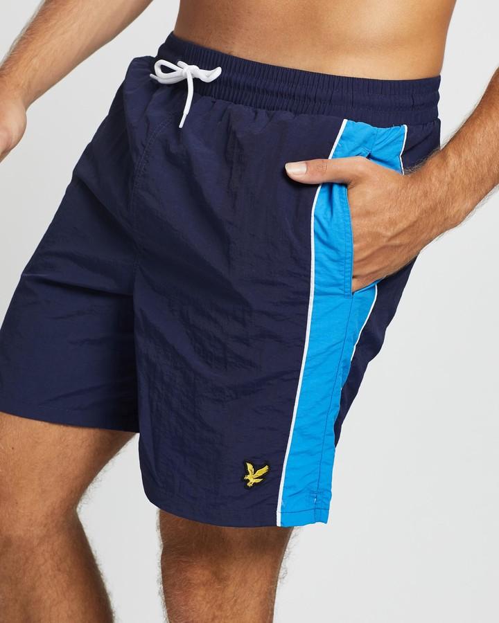 Lyle & Scott Men's Navy Boardshorts - Side Panel Swim Shorts - Size M at The Iconic