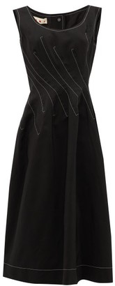 Marni Topstitched Ramie-blend Crepe Midi Dress - Black