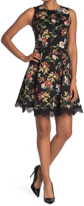 Donna Ricco Printed Scuba Dress with Crochet Hem