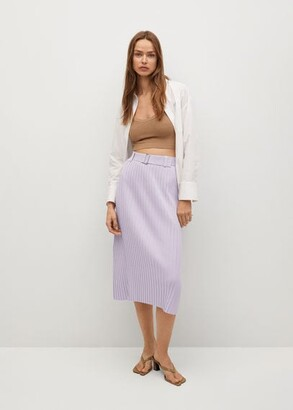 MANGO Pleated skirt with belt