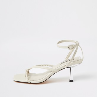 River Island Womens White toe post mid heel sandals