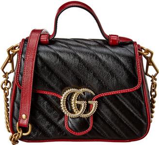 Gucci Gg Marmont Torchon Mini Top Handle Leather Shoulder Bag