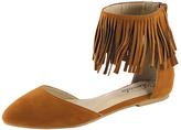 Camel Fringe Ankle-Strap Zonia Flat