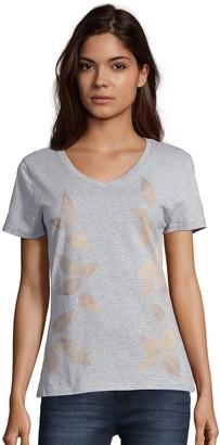 Hanes Women's Short Sleeve V-Neck Graphic Tee