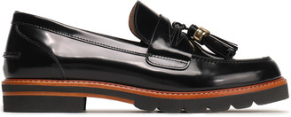 Stuart Weitzman Tasseled Patent-leather Loafers