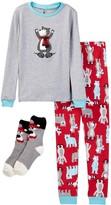 Petit Lem Cross Country Bear Pajama Set & Socks (Toddler & Little Boys)