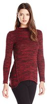 Heather B Women's Marled Pullover Sweater with a Reversed Seam Detail