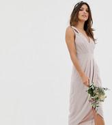 TFNC bridesmaid exclusive wrap midi dress in taupe