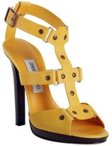 yellow leather 'Prize' platform t-strap sandals