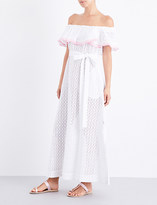 Lisa Marie Fernandez Ladies Ultra Light Mira Off-The-Shoulder Broderie Anglaise Cotton Maxi Dress