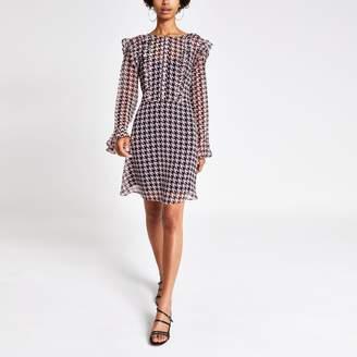 River Island Womens Pink print frill front mini dress