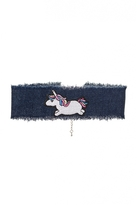 Quiz Denim Unicorn Choker