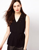 French Connection Sleeveless Blouse With Embelishment