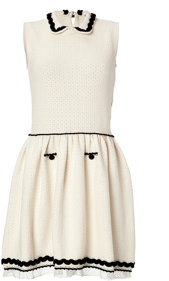 RED Valentino Ivory/Black Sleeveless Knit Dress with Collar