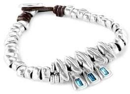 Uno de 50 Japan Silverplated & Swarovski Crystal Leather Bracelet