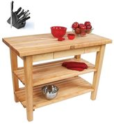 John Boos Boos C11C-D-2S 30 Country Maple 60x38 Table with Casters / Drawer / 2 Shelves and Henckels 13-piece Knife Block Set