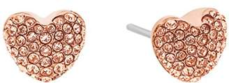 Michael Kors Brilliance Pave Hearts -Tone and Peach Crystal Heart Stud Earrings