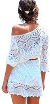 Imixshop Women's Crochet Hollow Out Bikini Cover Up Beach Mini Dress with Belt