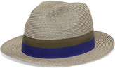 Eres Leone Grosgrain-trimmed Woven Paper Panama Hat - Gray green
