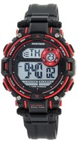 Armitron® Sport Unisex Chronograph Strap Watch -Matte Black/Red
