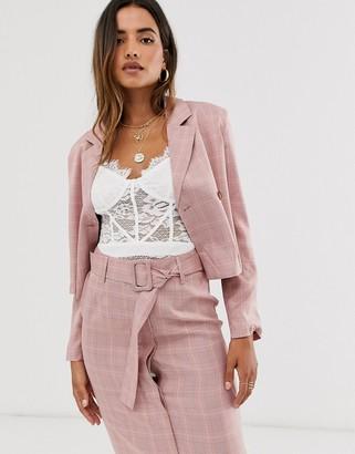 UNIQUE21 crop check blazer-Pink