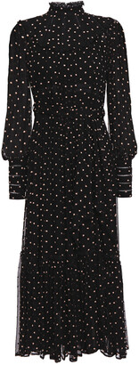 Zimmermann Lace-trimmed Swiss-dot Silk-georgette And Crepon Midi Dress