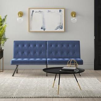 "Mercury Row Marcum 68"" Armless Sleeper Fabric: Navy Blue Polyester"