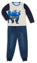 Petit Lem Baby's Bear Printed Tee & Textured Pants Set